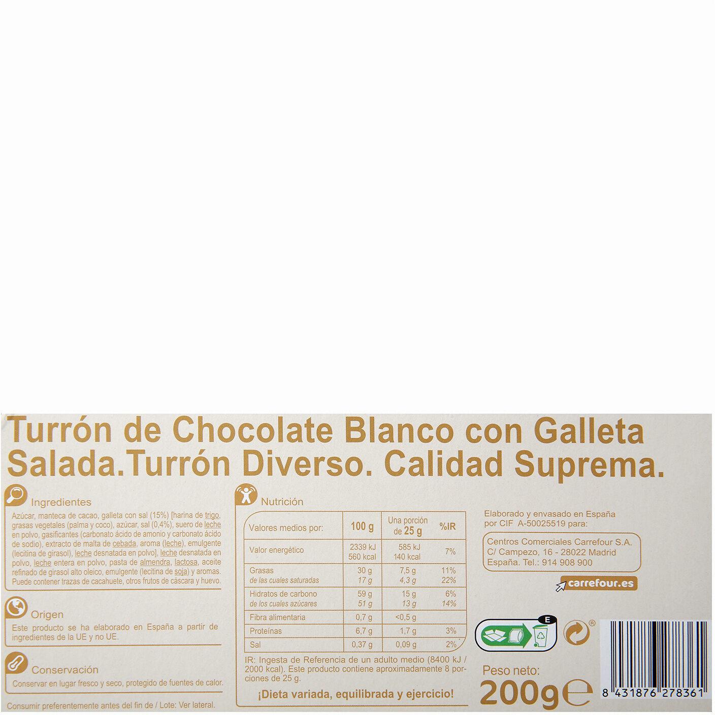 Turrón chocolate blanco con galleta - Información nutricional - es