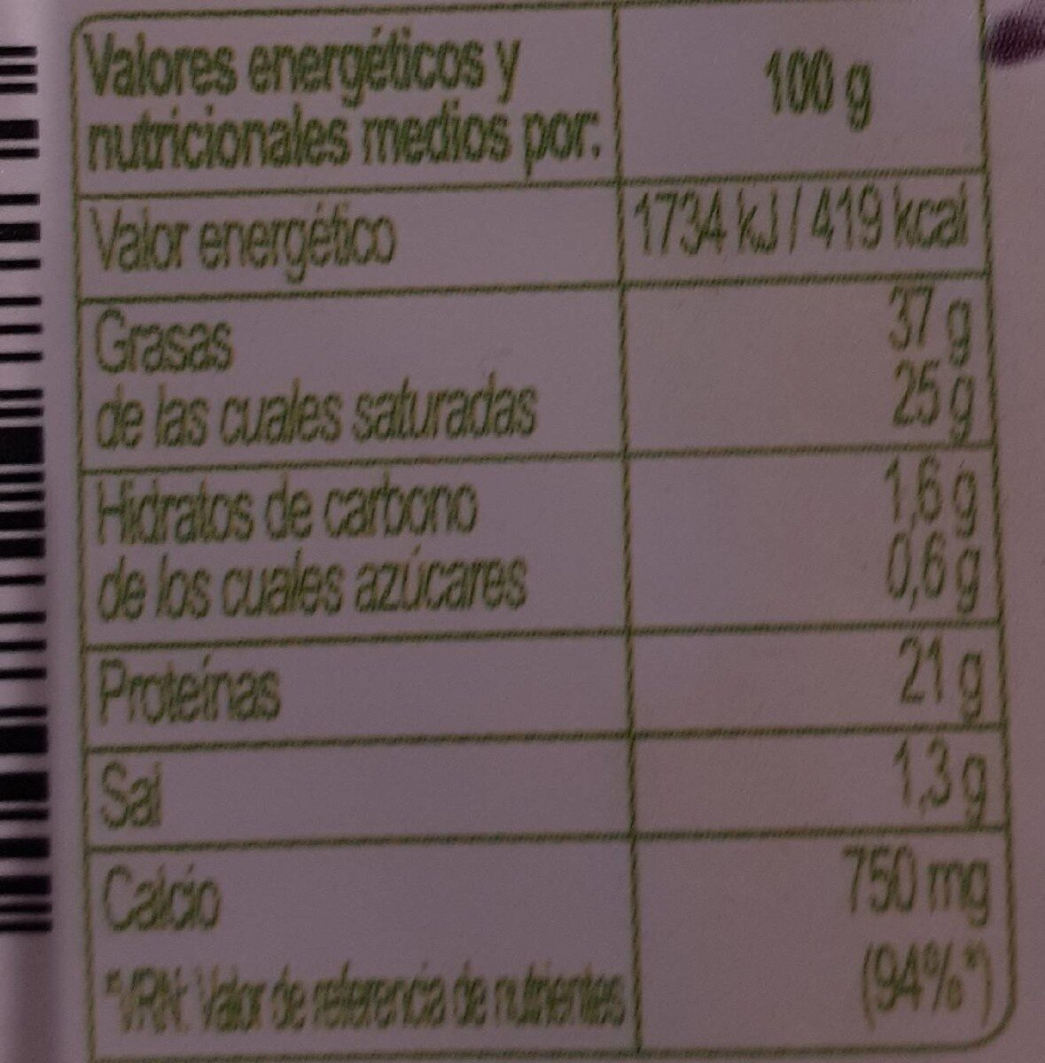 Queso bífida cabra - Nutrition facts