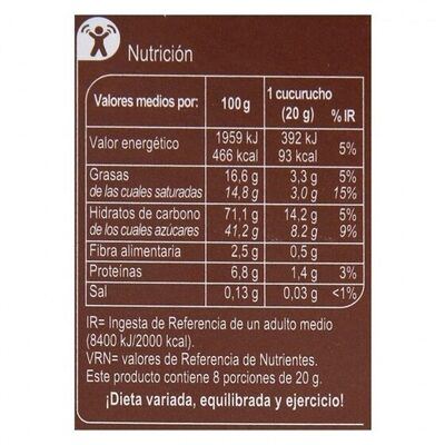 Conos chocolate - Nutrition facts