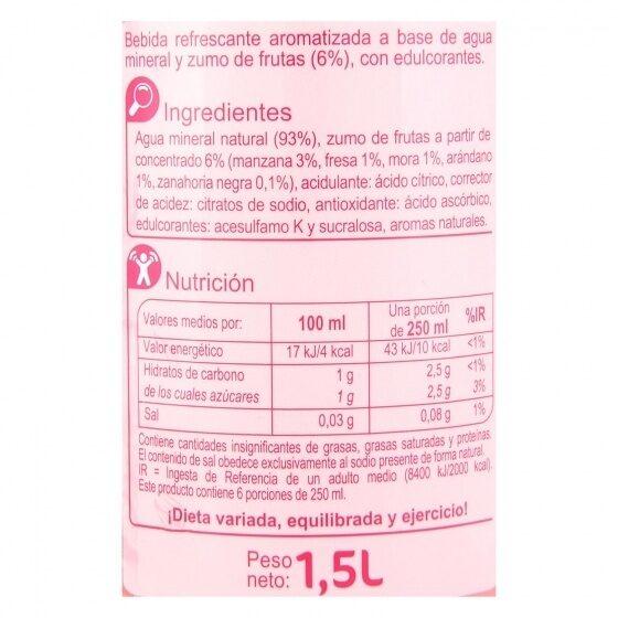 Agua frutos rojos zero - Información nutricional - es