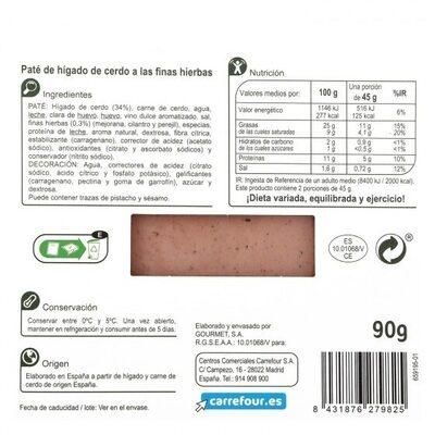 Pate a las finas hierbas - Informations nutritionnelles - es