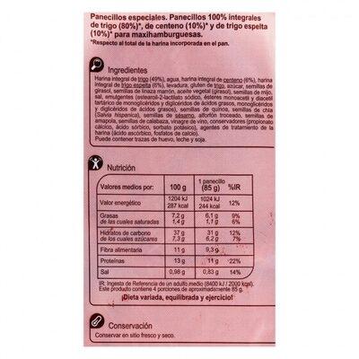 Pan maxi burguer 100% integral con centeno - Informació nutricional - es