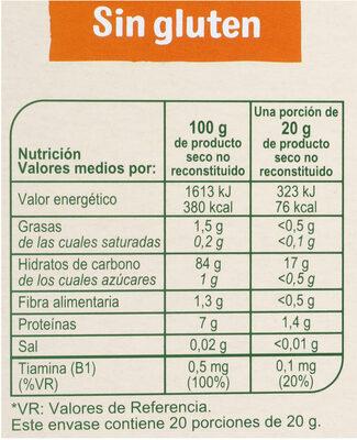 Cereales Sin Gluten BIO - Valori nutrizionali - es