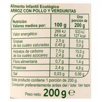 Tarrito arroz pollo verduras - Informations nutritionnelles - es