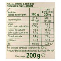 Tarrito Guisantes Y Jamón - Informations nutritionnelles - es