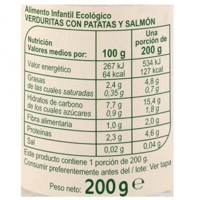 Tarrito verduras patatas salmón - Información nutricional - es