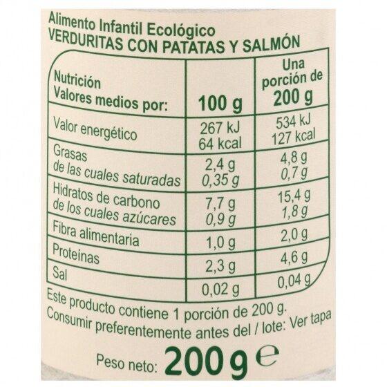 Tarrito verduras patatas salmón - Informations nutritionnelles - es