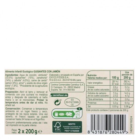 Tarrito guisantes jamón - Informations nutritionnelles - es