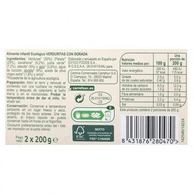 Tarrito verduras dorada - Informations nutritionnelles - es