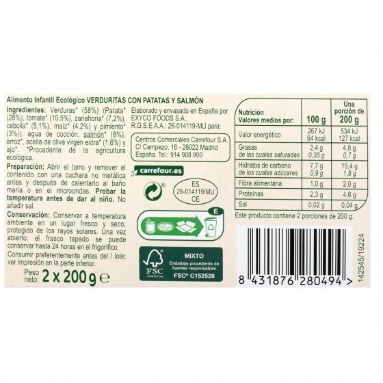 Tarrito verduras patata salmón - Información nutricional - es