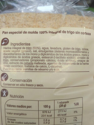 Pan de molde 100% integral sin corteza - Ingredientes - es
