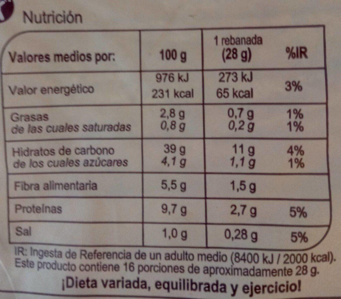 Pan de molde 100% integral sin corteza - Informations nutritionnelles - es