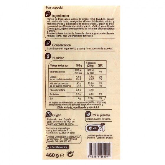 Pan molde blanco con corteza - Información nutricional - es