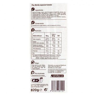 Pan molde blanco especial tostada - Información nutricional