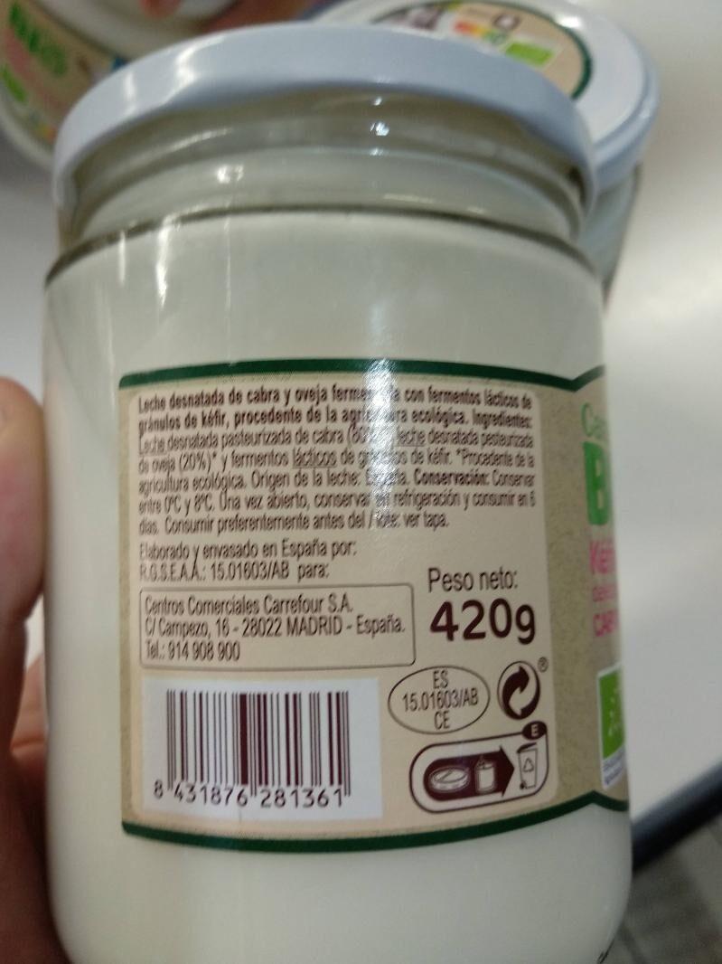 Kéfir cabra natural desnatado - Ingredients - es