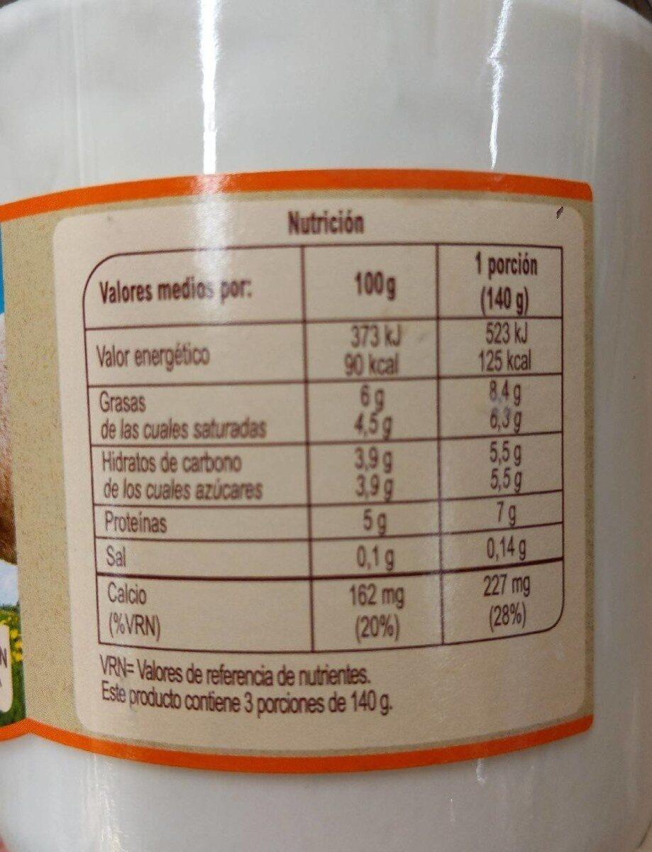 Kéfir oveja natural - Nutrition facts - es