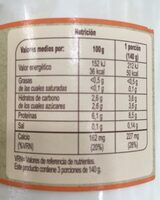 Kéfir oveja natural desnatado - Nutrition facts - es