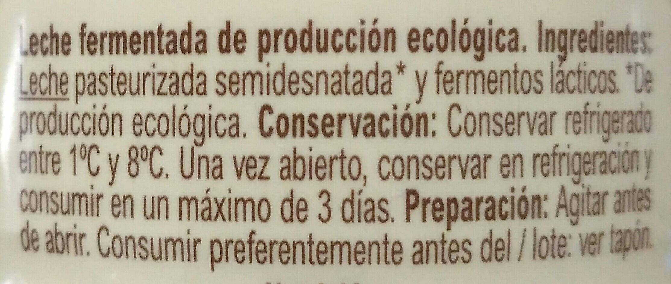 Kefir Liquido Natural - Ingredients - es