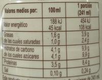 Kefir Liquido Natural - Nutrition facts - es