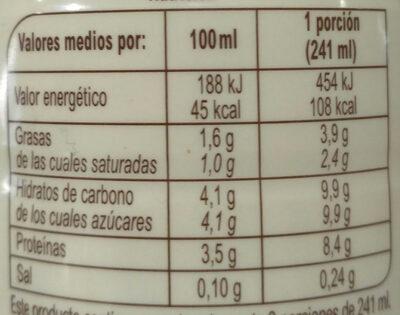 Kefir Liquido Natural - Informació nutricional - es