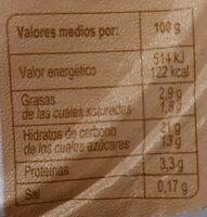 Arroz con leche - Informations nutritionnelles - es