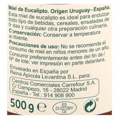 Miel de eucalipto - Informations nutritionnelles - es