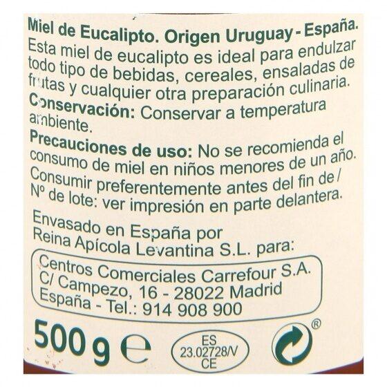 Miel de eucalipto - Información nutricional - es