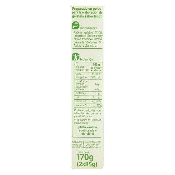 Preparado postre gelatina limón - Valori nutrizionali - es