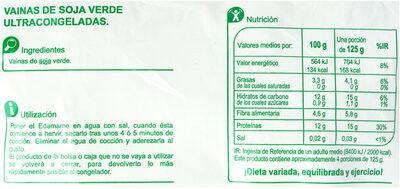 Edamame vainas de soja - Valori nutrizionali - es