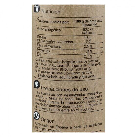 Aceituna manzanilla de anchoa s/poten - Informació nutricional - es