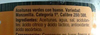 Aceitunas Manzanilla C/Hueso Verde - Ingredients - es