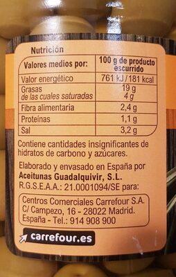 Aceitunas Manzanilla C/Hueso Verde - Informació nutricional - es