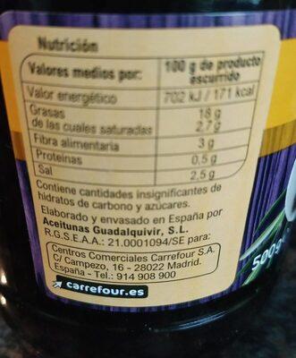Aceitunas Negras C/Hueso Cacereña - Informations nutritionnelles - es