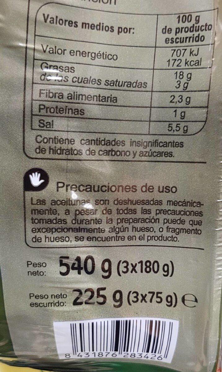 Aceitunas Manzanilla S/Hueso Bolsa - Informació nutricional - es