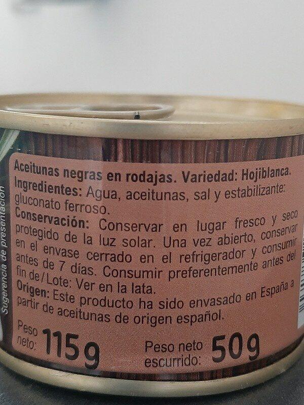 Aceitunas Neg.Cac. Rodajas Lata - Ingredients - es