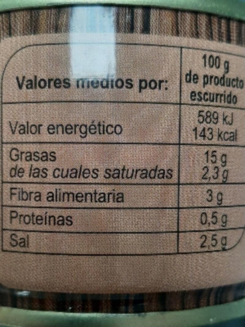 Aceitunas Neg.Cac. Rodajas Lata - Informació nutricional - es