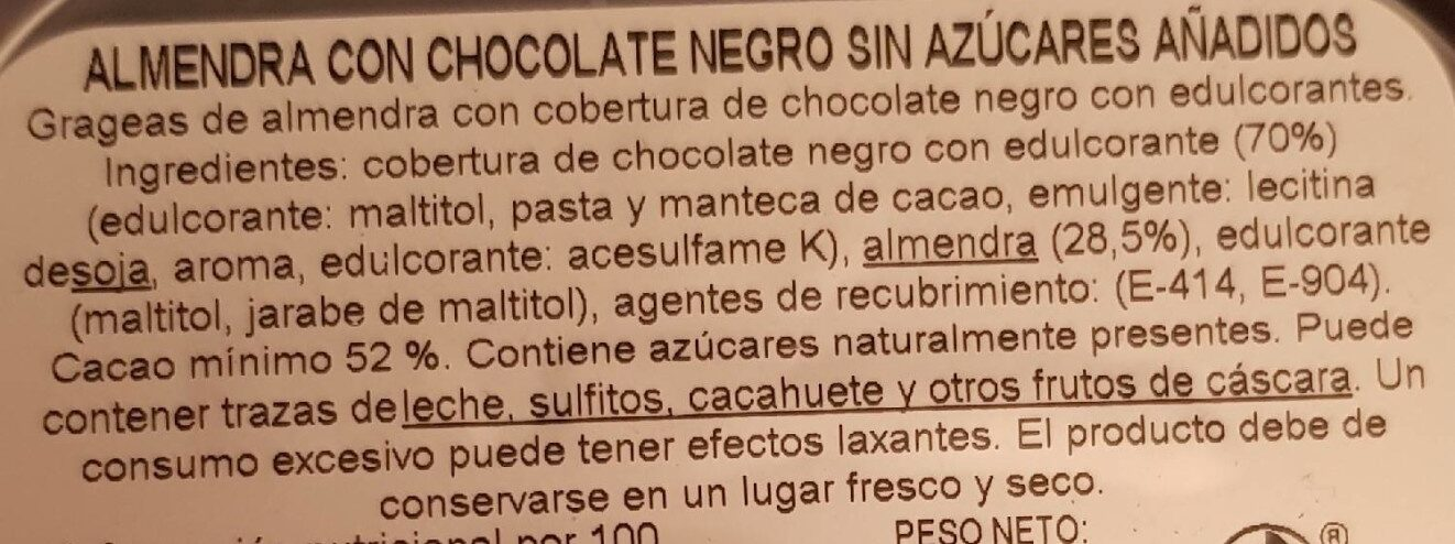 Almendras chocolate negro - Ingredients - es