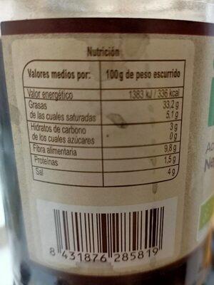Aceituna Negra Entera Aragon - Informació nutricional - es
