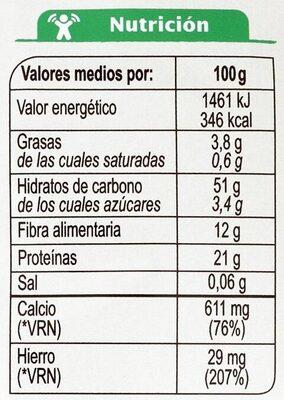 Fusilli De Garbanzos Sin Gluten - Valori nutrizionali
