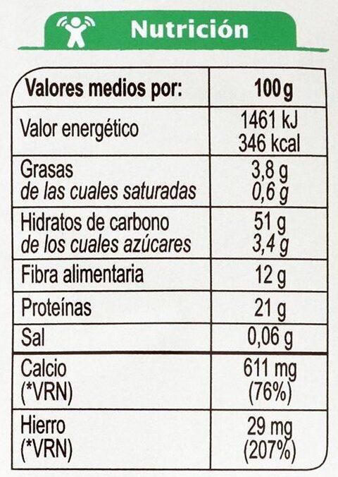 Fusilli De Garbanzos Sin Gluten - Valori nutrizionali - es