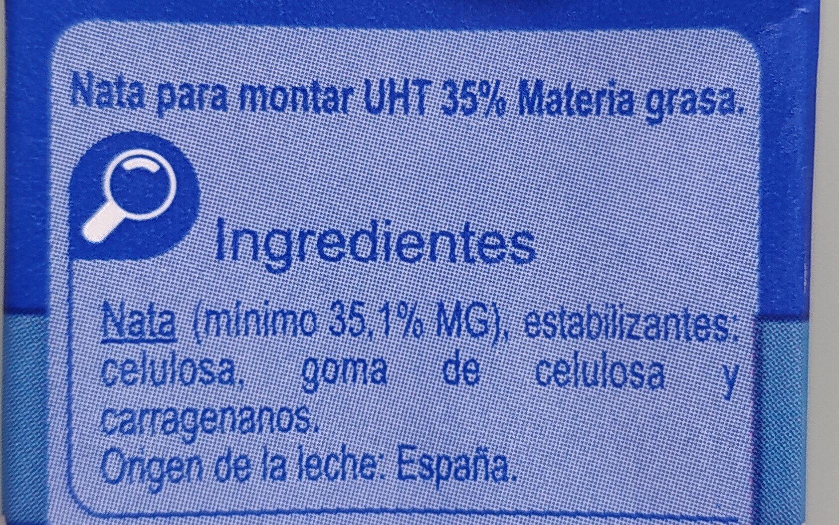 Nata Montar - Ingredients - es