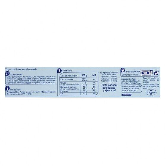Yogur liquido fresa - Información nutricional - es