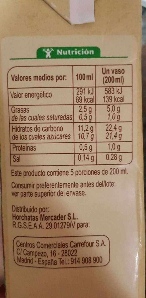 Horchata De Chufa - Informations nutritionnelles - es