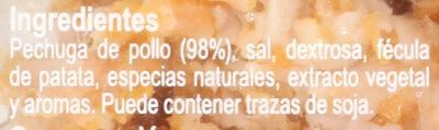 Tiras De Pollo Pechuga De Pollo Al Horno - Ingrédients - es
