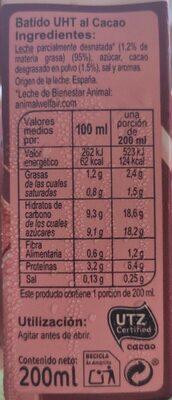 Batido de cacao - Informations nutritionnelles - es