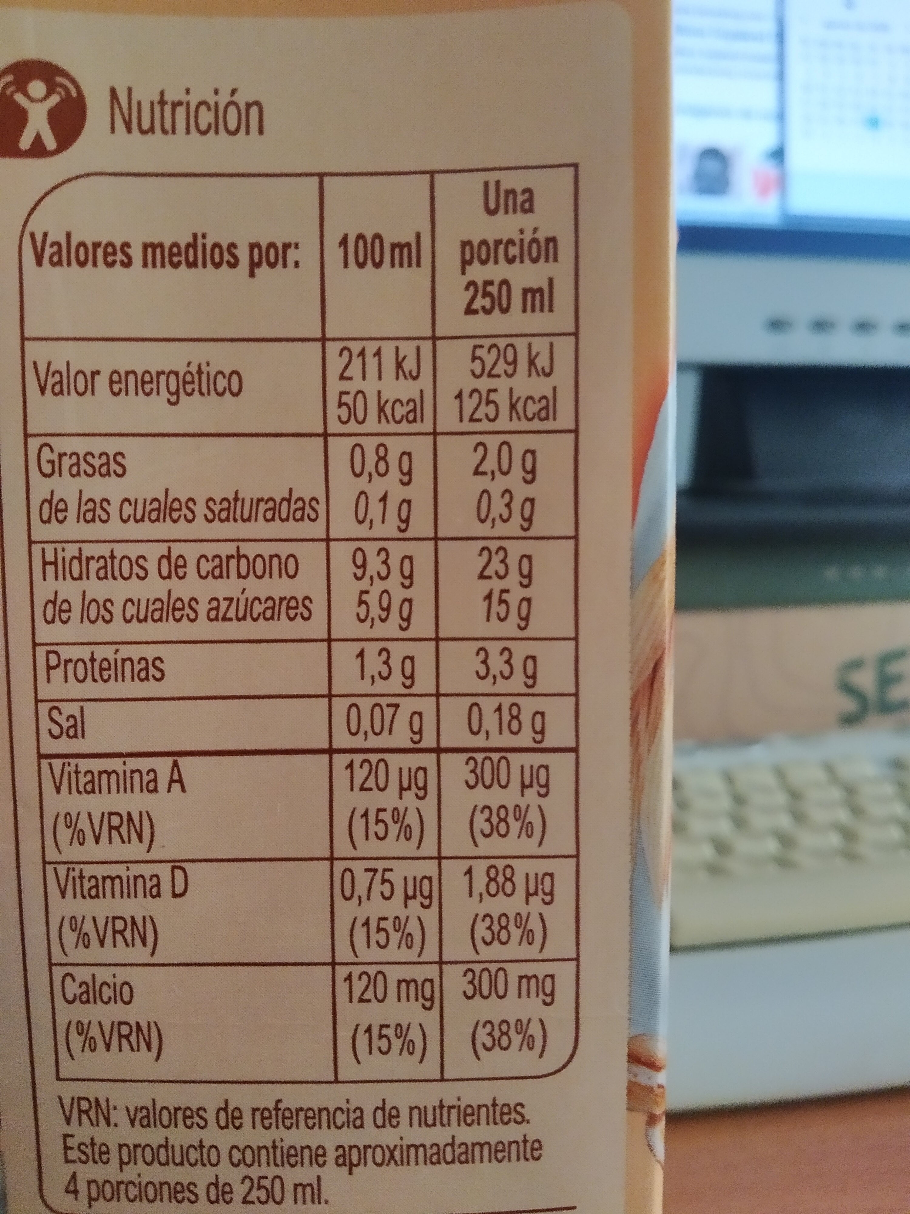 Bebido de avena calcio 0% azúcares añadidos - Informations nutritionnelles - es