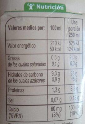 Bebida de avena calcio 0% azúcares añadidos - Nutrition facts - es