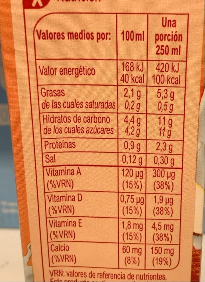 Bebida de almendra calcio - Informations nutritionnelles - es