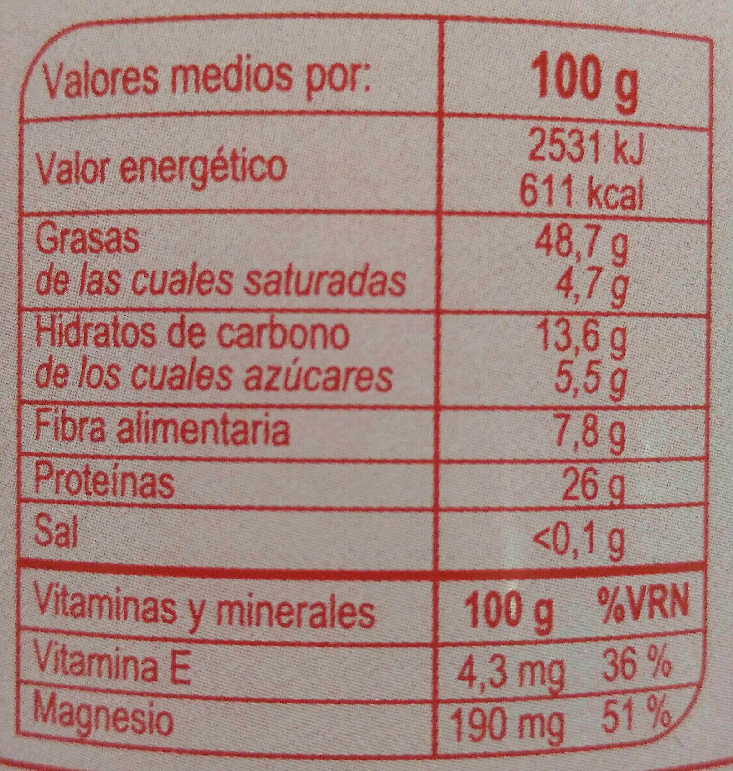 Crema 100% Cacahuete - Información nutricional - es