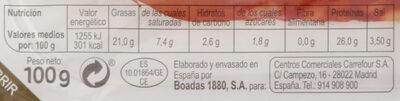 Chorizo extra pimienta finas lonchas - Nutrition facts - es